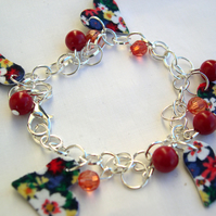 Silver Plated Hardened Floral Charm Bracelet with Glass and Resin Beads