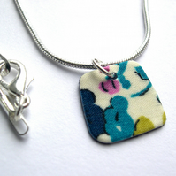 Unique Hardened Liberty of London Fabric Square Pendant  Necklace