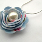 Hardened Fabric Blue Vintage Style Print Rose Necklace silver plated