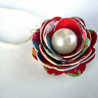 Hardened Fabric Red Print Rose Necklace silver plated