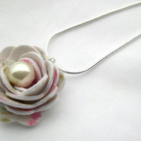 Hardened Fabric Cream Vintage Style Print Rose Necklace silver plated