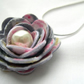 Hardened Fabric Light smoke Grey Vintage Style Print Rose Necklace silver plated