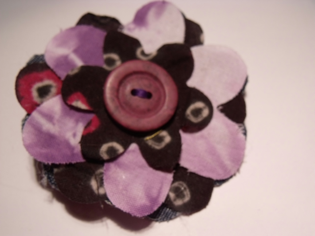 Textile Upcycled Flower Patterned Corsage Brooch Pin Badge