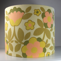 "Fabulous Vintage 1960s Mustard Coral & Yellow Fabric Handmade Lampshade 12""x10"""