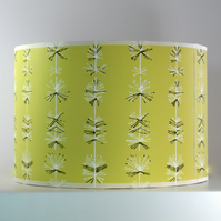 True Vintage 1950s Yellow-Green Abstract Dandelion Wallpaper Handmade Lampshade