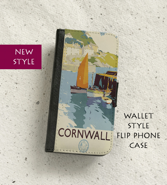 Phone flip case - Cornwall Railway poster - To fit a variety of models