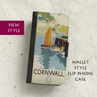Phone flip case - Cornwall Railway poster - iPhone and Samsung Galaxy models