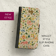 Phone flip case - Vintage bird tapestry - To fit Samsung Galaxy & iPhone models