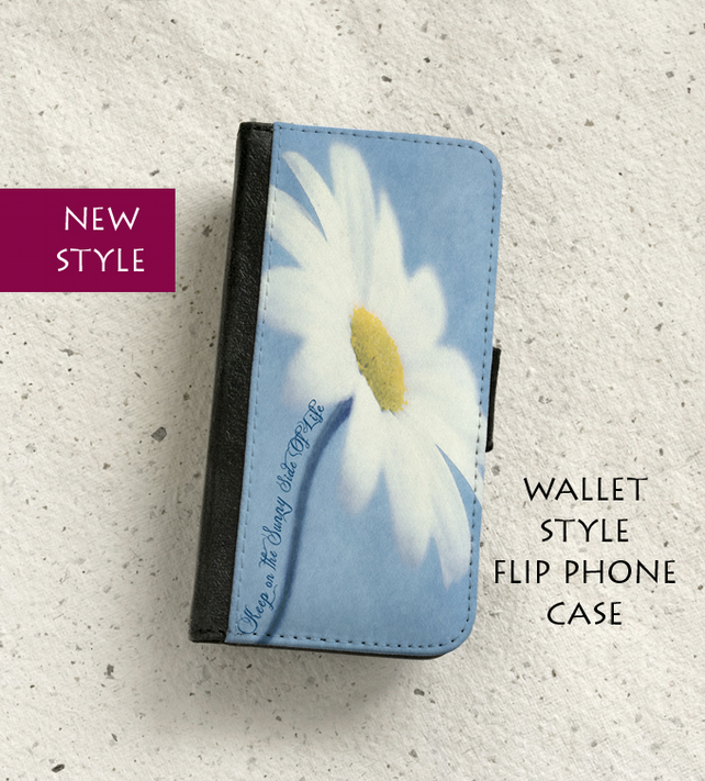 Phone flip case - Samsung Galaxy & iPhone models - Daisy