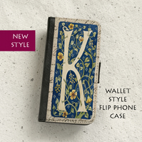 Phone flip case - Samsung Galaxy & iPhone models - Letter K