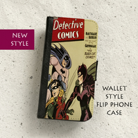Phone flip case - Samsung Galaxy & iPhone models - Catwoman, Batman & Robin