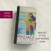Phone flip case - Penzance Railway poster - iPhone and Samsung Galaxy models