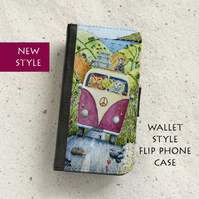 Phone flip case - Cool Cats on tour - iPhone and Samsung Galaxy models