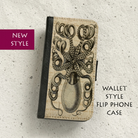 Phone flip case - Samsung Galaxy & iPhone models - Vintage Octopus
