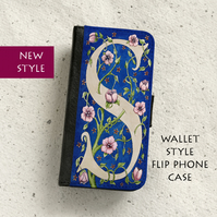 Phone flip case - William Morris style Letter S - iPhone and Samsung Galaxy