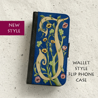 Phone flip case - William Morris style Letter J - iPhone and Samsung Galaxy