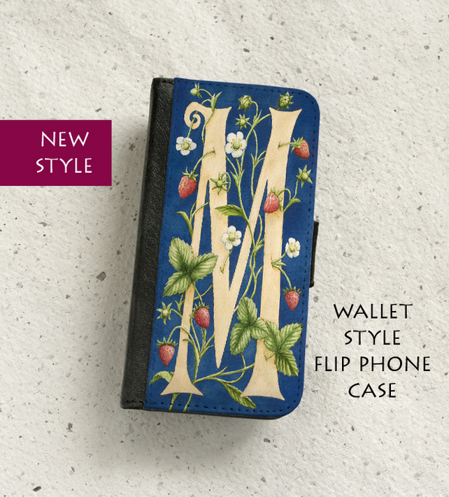 Phone flip case - William Morris style Letter M - iPhone and Samsung Galaxy