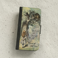 Phone flip case - Samsung Galaxy & iPhone models - Alice in Wonderland - Cat