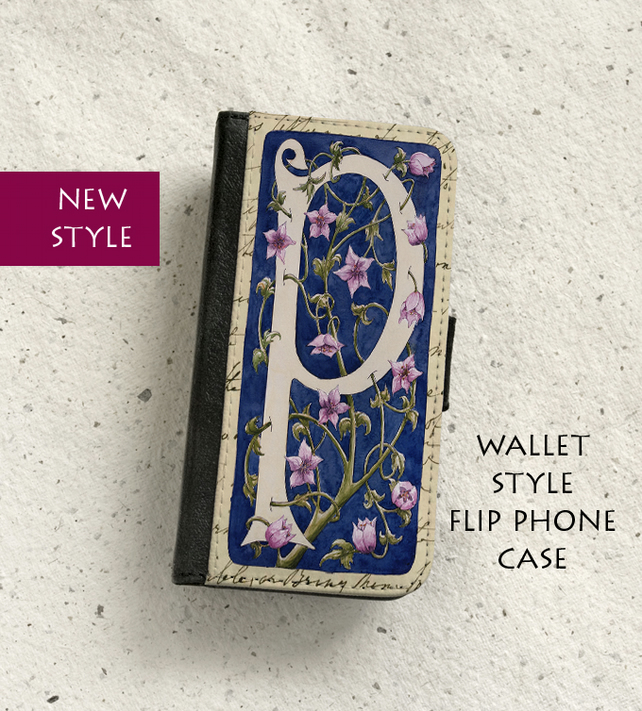 Phone flip case - William Morris style Letter P - iPhone and Samsung Galaxy