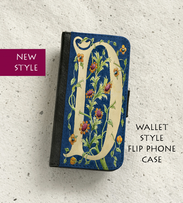 Phone flip case - William Morris style Letter D - iPhone and Samsung Galaxy