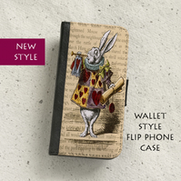Phone flip case - Samsung Galaxy & iPhone models - Alice in Wonderland - Rabbit