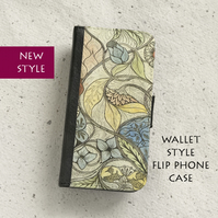 Phone flip case - Samsung Galaxy & iPhone - William Morris - Floral sketch