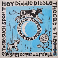 Hey Diddle Diddle Nursery Rhyme Linocut Print