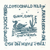 Old McDonald Nursery Rhyme Linocut Print