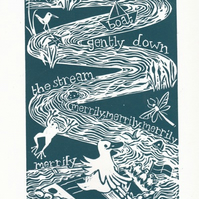 Row the Boat Nursery Rhyme Linocut Print