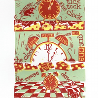 Hickory Dickory Dock 3 colour Nursery Rhyme Linocut Print