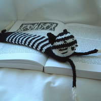 Cat Bookmark Hand knitted Black & White Book Lover's Gift Quirky custom order