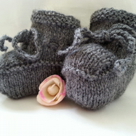 Mid Grey Baby Booties Knitted Newborn to 3 Months Unisex Girl Boy Modern Shade