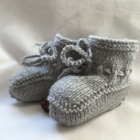 Light Grey Hand Knitted Baby Booties 0 to 3 or Plus 3 Months Unisex Modern