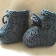 Mid Blue Knitted Baby Booties 0 to 3 or Plus 3 Months Boy Handmade Gift Modern
