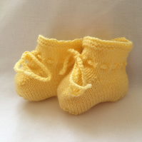 Hand Knitted Baby Booties Pretty Primrose Yellow 0 to 3 Months Girl Baby Gift