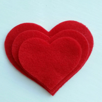 Red Felt Heart Shapes Embellishments x 10 Die Cuts sizes 7.5 6.5 or 5 cm