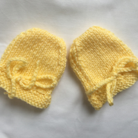 Hand Knitted Newborn Baby Scratch Mitts Mittens Primrose Yellow Practical