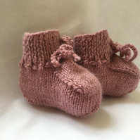 Hand Knitted Baby Booties Pure Alpaca Dusty Rose Pink 0 to 3 Months Girl Soft
