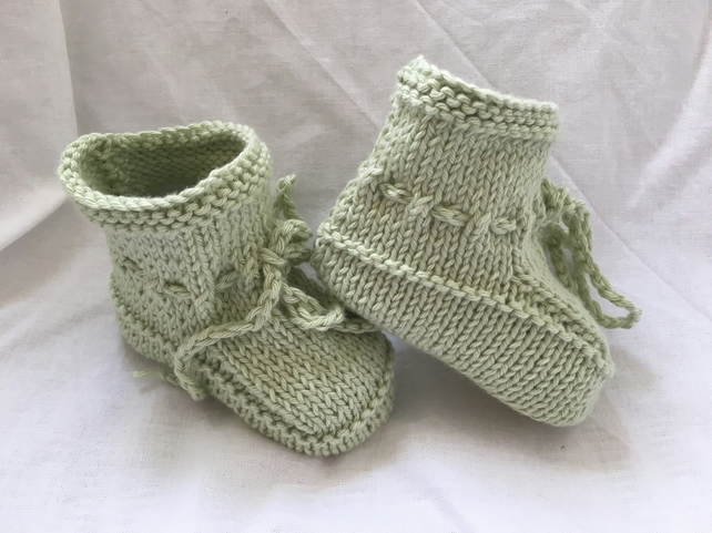 Fresh Pale Green Cotton Knitted Baby Booties Plus 3 Months Unisex girl or boy