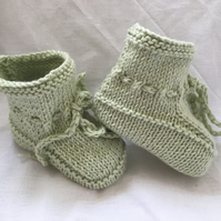 Fresh Pale Green Cotton Knitted Baby Booties Plus 3 Months Stay On Feet