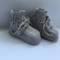 Pure Cotton Baby Booties Light Grey 0 to 3 Months Hand Knitted Unisex
