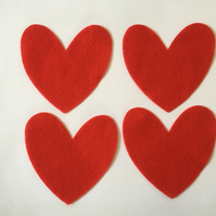 Red Felt Heart Shapes x 4 11 cm Die Cut Sewing and Card Making Embellishments