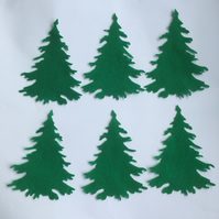 6 x Large Green Felt Christmas Tree Die Cut Shapes Conifer Applique Sewing Craft