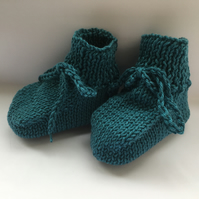 Hand Knitted Pure Cotton Baby Booties Greenish Blue Plus 3 Months Boy Girl shoes