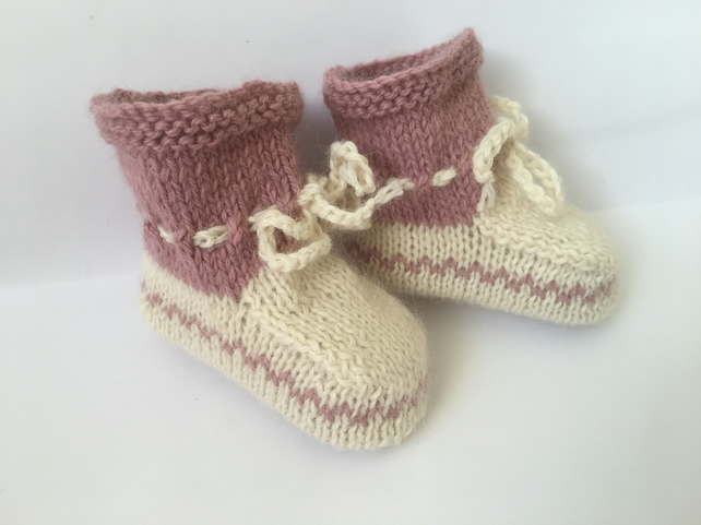 Pure Alpaca Baby Hand Knitted Booties Cream and Dusty Pink 0 to 3 month Warm