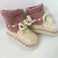 Pure Alpaca Baby Hand Knitted Booties Cream and Dusty Pink 0 to 3 month Luxury