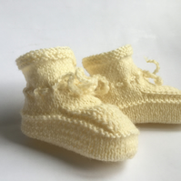 Hand Knitted Baby Booties Pure Scottish Wool Cream Plus 3 Months Unisex Boy