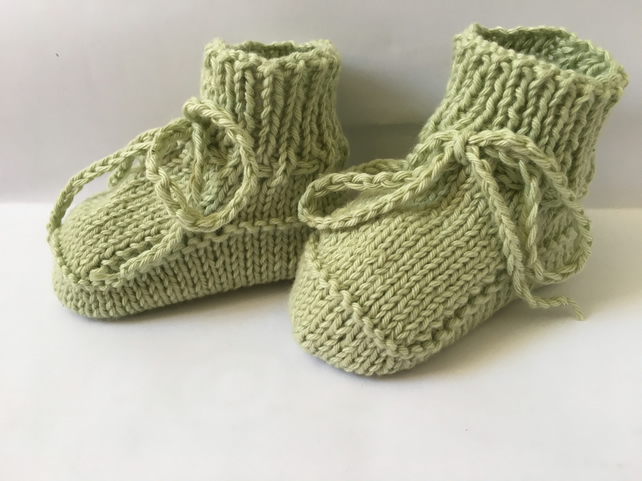Knitted Baby Booties Fresh Pale Green Cotton Plus 3 Months Stay On Feet
