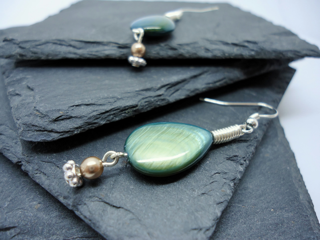 Green Shell Tear-Drop Silver Coil Earrings