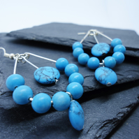 Turquoise and  silver chandelier beaded earrings